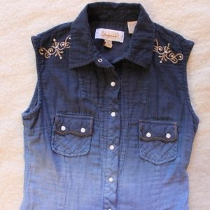 Sleeveless Western Blouse with Embellishments